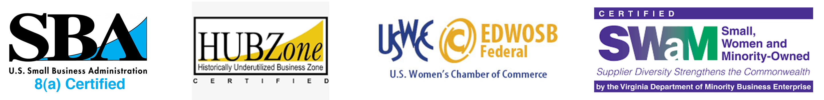 U.S Small Business Administration, HUBZone, USWCC, Small, Woman and Minority-Owned Logos